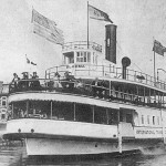 Black and white photo of the The International Transit Company's Ferry from 1905