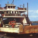 Colour photograph of the James W. Curran ferry loaded with cars